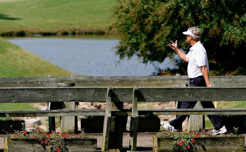 CARY, NC - SEPTEMBER 28:  Wayne Levi crosses the bridge from the eighth tee box during the final round of the 2008 SAS Championship at Prestonwood Country Club on September 28, 2008 in Cary, North Carolina.  (Photo by Kevin C. Cox/Getty Images)