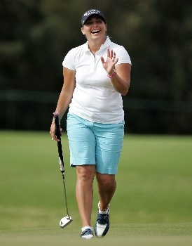 KAHUKU, HI - FEBRUARY 14:  Kelli Kuehne reacts after missing a birdie putt on the fourth hole during the first round of  the SBS Open on February 14, 2008  at the Turtle Bay Resort in Kahuku, Hawaii.  (Photo by Andy Lyons/Getty Images)