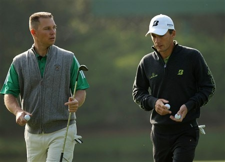 AUGUSTA, GA - APRIL 09:  Amateur Trip Kuehne walks with Charles Howell III during the third day of practice prior to the start of the 2008 Masters Tournament at Augusta National Golf Club on April 9, 2008 in Augusta, Georgia.  (Photo by Harry How/Getty Images)