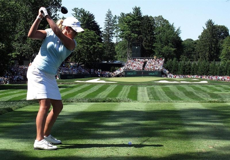 BETHLEHEM, PA - JULY 12:  Cristie Kerr hits her tee shot on the ninth hole during the final round of the 2009 U.S. Women's Open at the Saucon Valley Country Club on July 12, 2009 in Bethlehem, Pennsylvania.  (Photo by Scott Halleran/Getty Images)