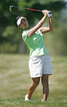 SPRINGFIELD, IL - AUGUST 31: Mi Hyun Kim of South Korea hits her approach shot on the 15th hole during the second round of the State Farm Classic at Panther Creek Country Club August 31, 2007 in Springfield, Illinois. (Photo by Hunter Martin/Getty Images)