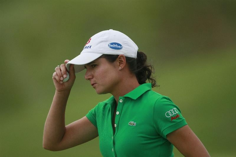 PRATTVILLE, AL - OCTOBER 4:  Lorena Ochoa of Mexico tips her cap on the 12th hole during final round play in the Navistar LPGA Classic at the Robert Trent Jones Golf Trail at Capitol Hill on October 4, 2009 in  Prattville, Alabama.  (Photo by Dave Martin/Getty Images)