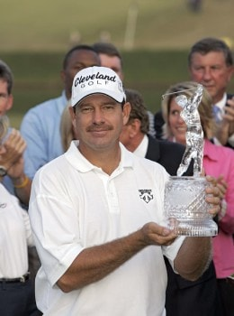 Bart Bryant holding his championship trophy after winning THE TOUR Championship at East Lake Golf Club in Atlanta, Georgia on November 6, 2005.Photo by Sam Greenwood/WireImage.com