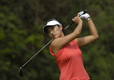Grace Park tees off on the 18th  hole in the final round  of the 2006 SBS Open at Turtle Bay February 18 at Kahuku, Hawaii.Photo by Al Messerschmidt/WireImage.com
