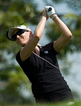 SINGAPORE - MARCH 06:  Carin Koch of Sweden plays an approach shot during the second round of HSBC Women's Champions at the Tanah Merah Country Club on March 6, 2009 in Singapore.  (Photo by Victor Fraile/Getty Images)