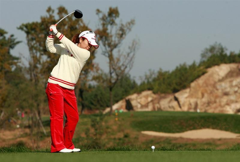 INCHEON, SOUTH KOREA - OCTOBER 29:  Mika Miyazato of Japan hits a tee shot on the second hole during the 2010 LPGA Hana Bank Championship at Sky 72 golf club on October 29, 2010 in Incheon, South Korea.  (Photo by Chung Sung-Jun/Getty Images)