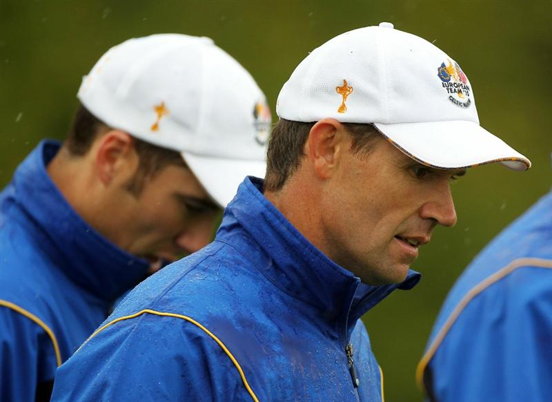 NEWPORT, WALES - SEPTEMBER 29:  Padraig Harrington of Europe looks on during a practice round prior to the 2010 Ryder Cup at the Celtic Manor Resort on September 29, 2010 in Newport, Wales.  (Photo by Andy Lyons/Getty Images)