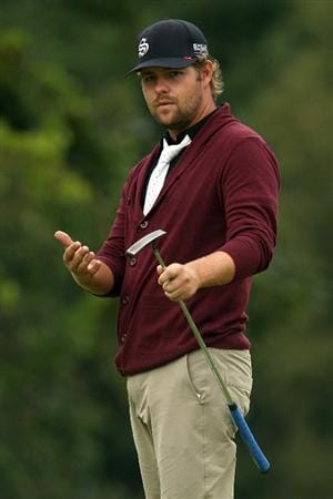 LEMONT, IL - SEPTEMBER 11:  Ryan Moore  reacts to a birdie putt on the 17th hole during the third round of the BMW Championship at Cog Hill Golf & Country Club on September 11, 2010 in Lemont, Illinois.  (Photo by Scott Halleran/Getty Images)