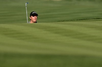 Phil Mickelson watches his shot onto the 15th green during the first round of the FBR Open on January 31, 2008 at TPC of Scottsdale in Scottdsdale, Arizona. PGA TOUR - 2008 FBR Open - Round OnePhoto by Stephen Dunn/Getty Images