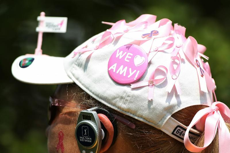 FT. WORTH, TX - MAY 29:  :  :  A fan shows her support for Amy Mickelson, who is battling breast cancer, during the third round of the 2010 Crowne Plaza Invitational at the Colonial Country Club on May 29, 2010 in Ft. Worth, Texas.  (Photo by Scott Halleran/Getty Images)