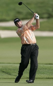 Tom Purtzer watches his drive on the par five 18th hole on his way to winning the 3M Championship, August 7, 2005, held at the TPC of the Twin Cities, Blaine, Minnesota. Purtzer finished -15 holding off Craig Stadler and Lonnie Nielsen for a one shot victory.Photo by Gregory Shamus/WireImage.com