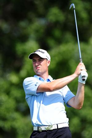 CHASKA, MN - AUGUST 14:  Ross Fisher of England watches his tee shot on the eighth hole during the second round of the 91st PGA Championship at Hazeltine National Golf Club on August 14, 2009 in Chaska, Minnesota.  (Photo by Stuart Franklin/Getty Images)
