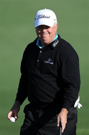 AUGUSTA, GA - APRIL 07:  Mark O'Meara smiles while on the second hole during the first round of the 2011 Masters Tournament at Augusta National Golf Club on April 7, 2011 in Augusta, Georgia.  (Photo by Harry How/Getty Images)