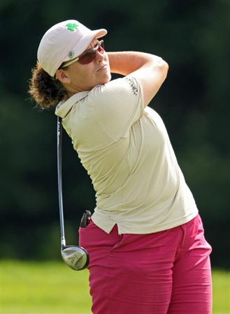 HAVRE DE GRACE, MD - JUNE 12: Moira Dunn hits her second shot on the 18th hole during the second round of the McDonald's LPGA Championship at Bulle Rock Golf Course on June 12, 2009 in Havre de Grace, Maryland. (Photo by Drew Hallowell/Getty Images)