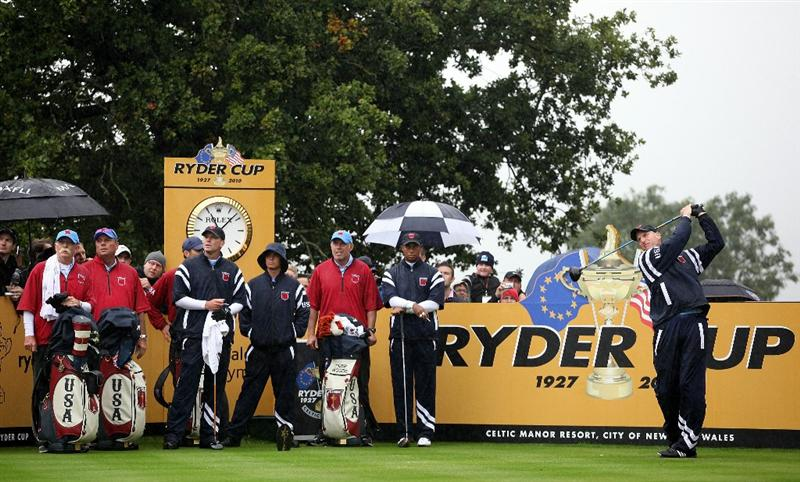 NEWPORT, WALES - SEPTEMBER 29:  Jim Furyk of the USA tees off during a practice round prior to the 2010 Ryder Cup at the Celtic Manor Resort on September 29, 2010 in Newport, Wales.  (Photo by Jamie Squire/Getty Images)