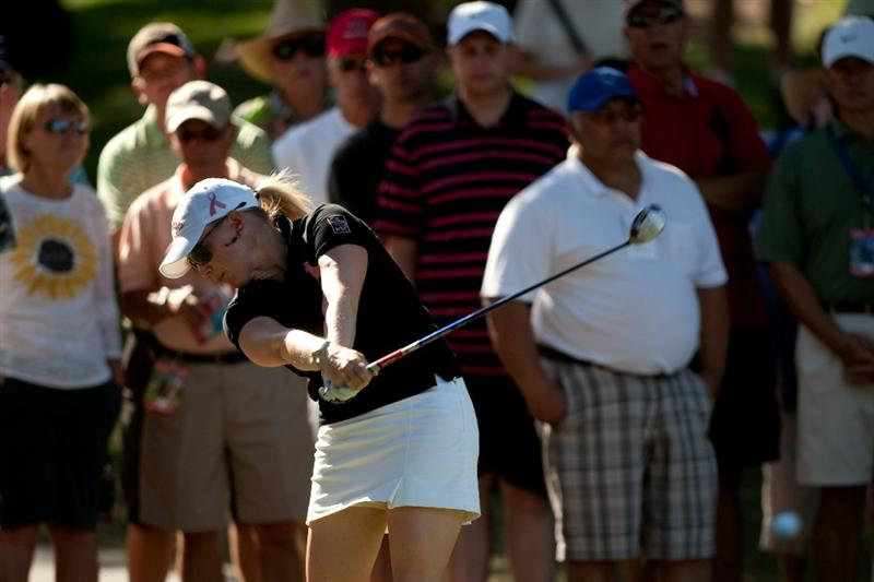 DANVILLE, CA - OCTOBER 15: Morgan Pressel follows through on her second shot at the ninth hole during the second round of the CVS/Pharmacy LPGA Challenge at Blackhawk Country Club on October 15, 2010 in Danville, California. (Photo by Darren Carroll/Getty Images)
