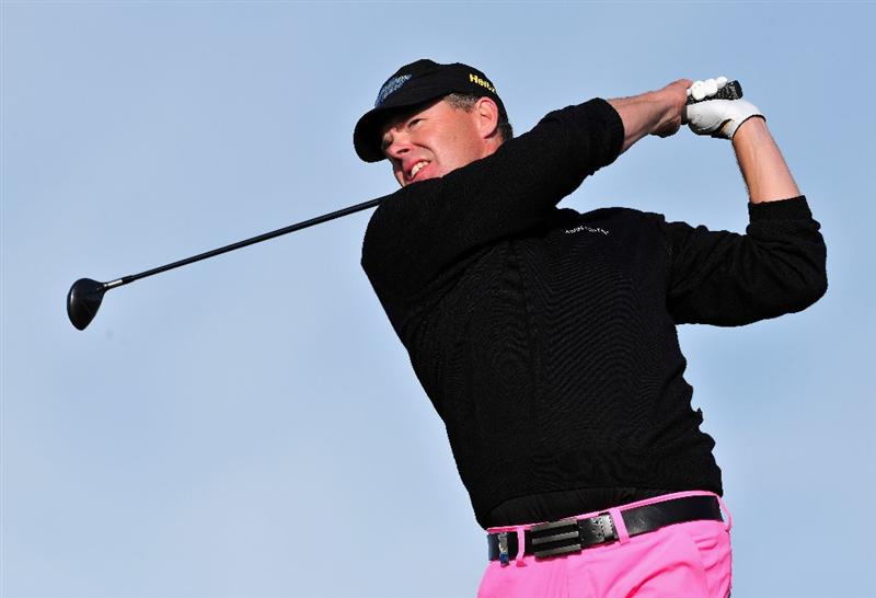 ESTORIL, PORTUGAL - APRIL 05:  Joakim Haeggman of Sweden play his tee shot during the final round of The Estoril Open de Portugal The Oitavos Dunes Golf Course on April 5, 2009 in Cascais, Portugal.  (Photo by Stuart Franklin/Getty Images)