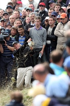 SOUTHPORT, UNITED KINGDOM - JULY 20:  Greg Norman of Australia is watched by spectators as he hits a shot on the 8th during the final round of the 137th Open Championship on July 20, 2008 at Royal Birkdale Golf Club, Southport, England.  (Photo by David Cannon/Getty Images)