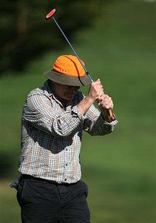 PEBBLE BEACH, CA - FEBRUARY 13:  Actor Bill Murray waves his club at the AT&T Pebble Beach National Pro-Am- Final Round at the Pebble Beach Golf Links on February 13, 2011 in Pebble Beach, California.  (Photo by Jed Jacobsohn/Getty Images)