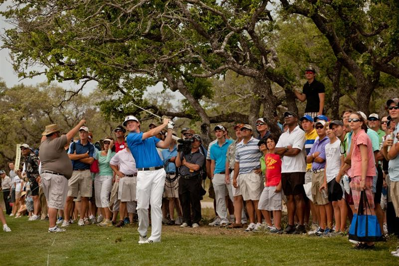 SAN ANTONIO, TX - APRIL 17: Brandt Snedeker follows through on an approach shot during the final round of the Valero Texas Open at the AT&T Oaks Course at TPC San Antonio on April 17, 2011 in San Antonio, Texas. (Photo by Darren Carroll/Getty Images)