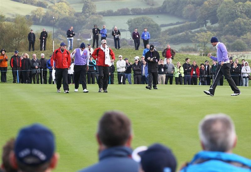 NEWPORT, WALES - OCTOBER 02:  Jeff Overton of the USA celebrates holing a putt on the 10th green during the rescheduled Morning Fourball Matches during the 2010 Ryder Cup at the Celtic Manor Resort on October 2, 2010 in Newport, Wales.  (Photo by Jamie Squire/Getty Images)