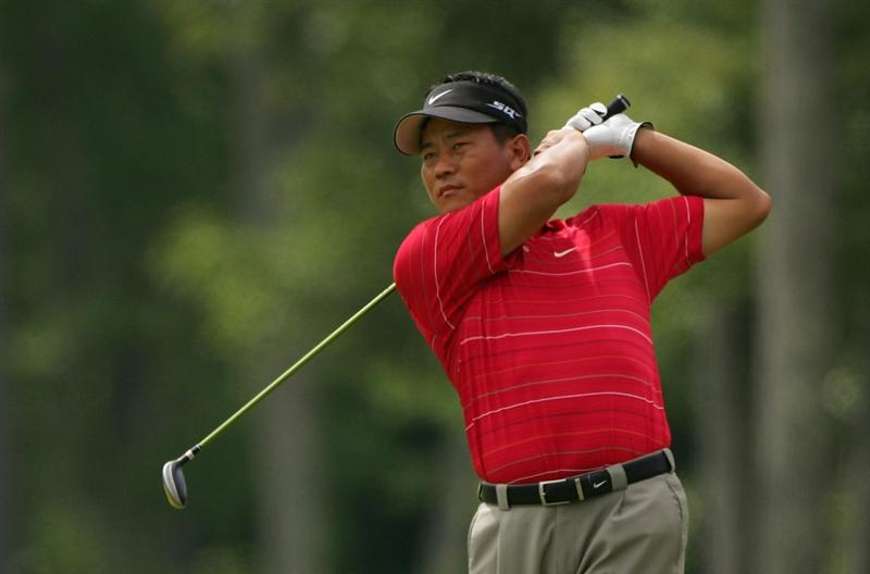 NORTON, MA - AUGUST 29:  K.J. Choi plays a shot during the first round of the Deutsche Bank Championship at TPC of Boston held on August 29, 2008 in Norton, Massachusetts.  (Photo by Michael Cohen/Getty Images)