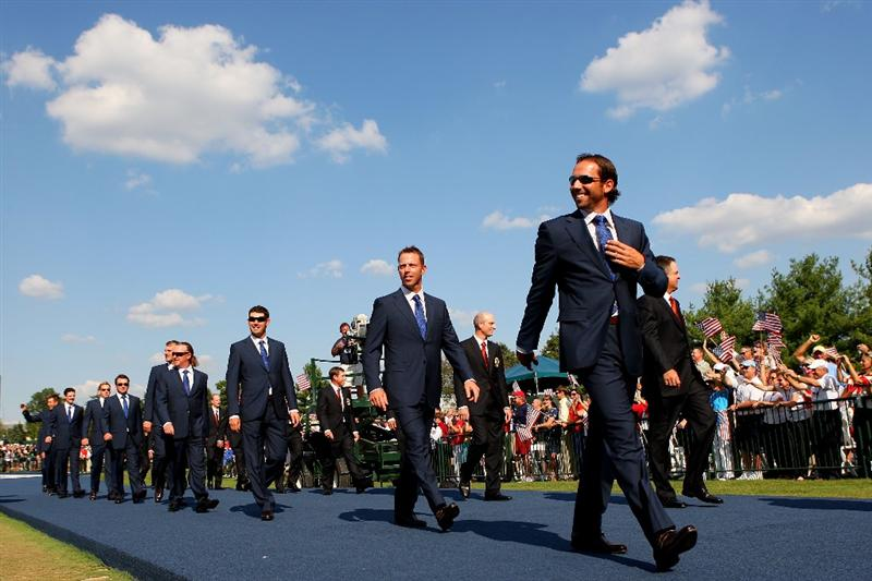 LOUISVILLE, KY - SEPTEMBER 18:  Sergio Garcia of the European team walks alongside his teammates and the USA team during the opening ceremony for the 2008 Ryder Cup at Valhalla Golf Club on September 18, 2008 in Louisville, Kentucky.  (Photo by Andrew Redington/Getty Images)