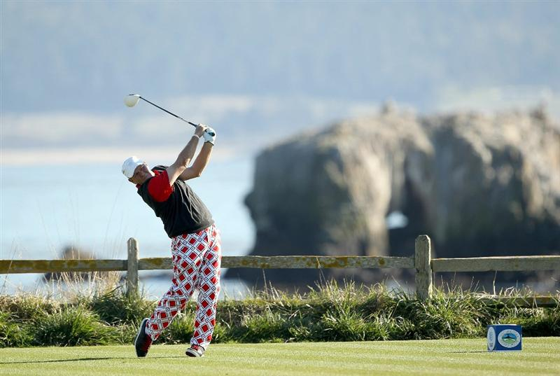 PEBBLE BEACH, CA - FEBRUARY 12:  John Daly tees off on the 18th hole during the third round of the AT&T Pebble Beach National Pro-Am at the Pebble Beach Golf Links on February 12, 2011 in Pebble Beach, California.  (Photo by Ezra Shaw/Getty Images)