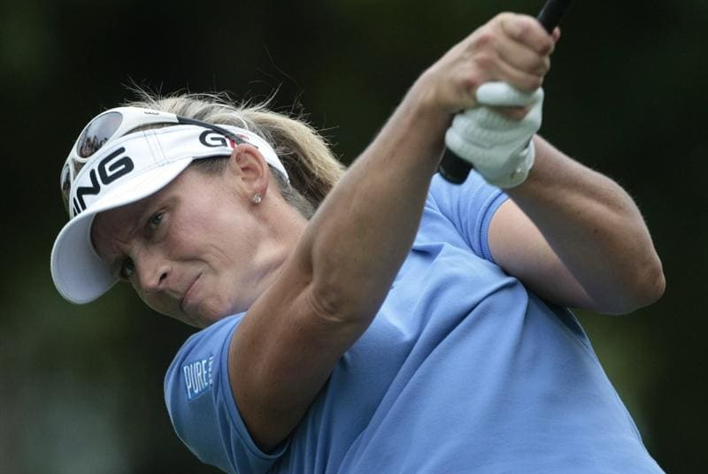 MOBILE, AL - MAY 16:  Angela Stanford hits her drive from the third tee during final round play in the Bell Micro LPGA Classic at the Magnolia Grove Golf Course on May 16, 2010 in Mobile, Alabama.  (Photo by Dave Martin/Getty Images)