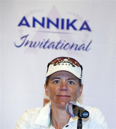 HAIKOU, CHINA - OCTOBER 29:  Golfer Annika Sorenstam of Sweden attends a press conference during the Mission Hills Star Trophy tournament at Mission Hills Resort on October 29, 2010 in Haikou, China. The Mission Hills Star Trophy is Asia's leading leisure liflestyle event and features Hollywood celebrities and international golf stars.  (Photo by Athit Perawongmetha/Getty Images for Mission Hills)