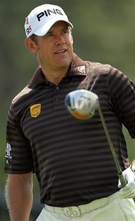 AUGUSTA, GA - APRIL 08:  Lee Westwood of England watches a tee shot on the first tee during the second round of the 2011 Masters Tournament at Augusta National Golf Club on April 8, 2011 in Augusta, Georgia.  (Photo by Jamie Squire/Getty Images)