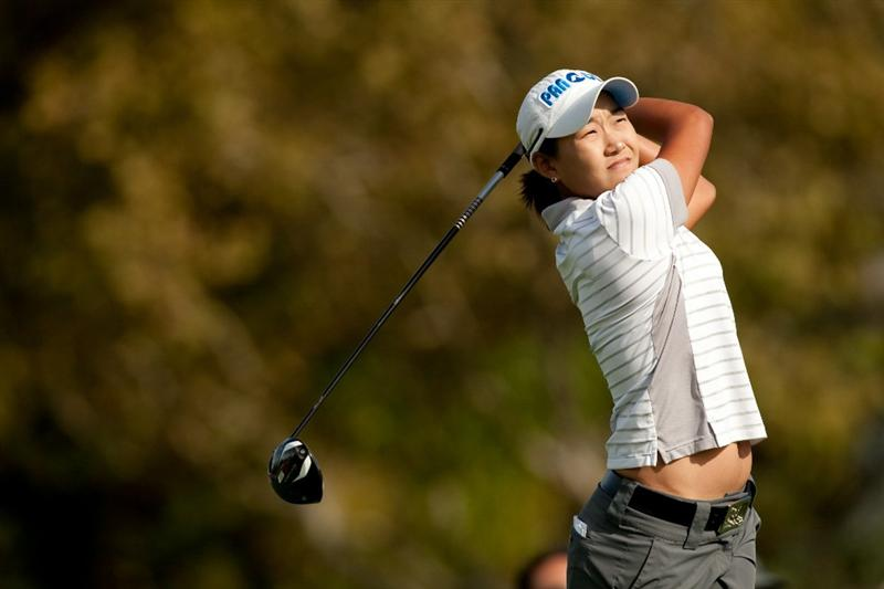 DANVILLE, CA - OCTOBER 16: Ilhee Lee of South Korea follows through on a tee shot during the third round of the CVS/Pharmacy LPGA Challenge at Blackhawk Country Club on October 16, 2010 in Danville, California. (Photo by Darren Carroll/Getty Images)