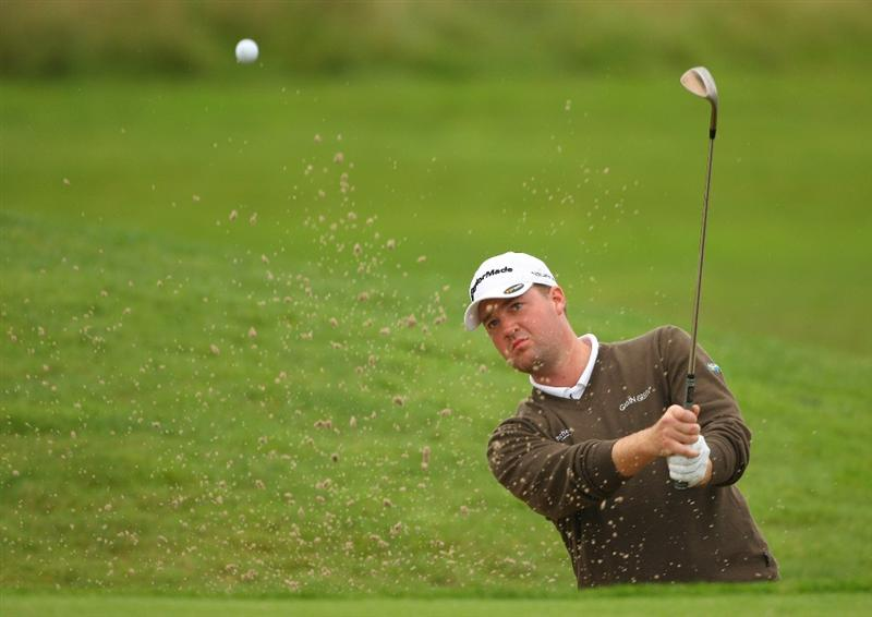 PERTH, UNITED KINGDOM - AUGUST 31:  Peter Hanson of Sweden plays from a bunker on the 16th hole during the final round of The Johnnie Walker Championship at Gleneagles on August 31, 2008 at the Gleneagles Hotel and Resort in Perthshire, Scotland.  (Photo by Andrew Redington/Getty Images)