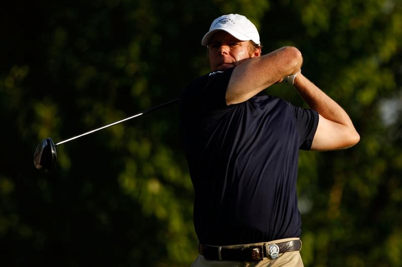 CHASKA, MN - AUGUST 13:  Keith Dicciani hits a shot on the first hole during the first round of the 91st PGA Championship at Hazeltine National Golf Club on August 13, 2009 in Chaska, Minnesota.  (Photo by Streeter Lecka/Getty Images)