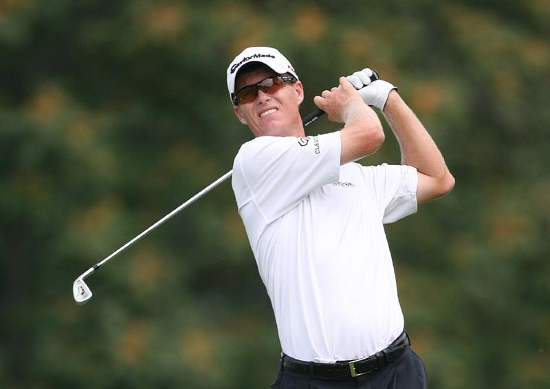 LEMONT, IL - SEPTEMBER 12: John Senden of Australia hits his tee shot on the eighth hole during the third round of the BMW Championship at Cog Hill Golf & Country Club on September 12, 2009 in Lemont, Illinois. (Photo by Hunter Martin/Getty Images)