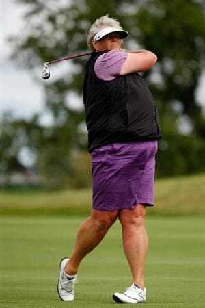 SUGAR GROVE, IL - AUGUST 20:  Laura Davies of the European Team hits a shot during a practice round prior to the start of the 2009 Solheim Cup at Rich Harvest Farms on August 20, 2009 in Sugar Grove, Illinois.  (Photo by Chris Graythen/Getty Images)