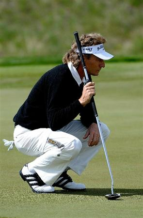PARKER, CO. - MAY 27:   Bernhard Langer of Germany lines up a birdie putt on the 12th hole during the first round of the Senior PGA Championship at the Colorado Golf Club  on May 27, 2010 in Parker, Colorado.  (Photo by Marc Feldman/Getty Images)