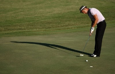 Jesper Parnevik of Sweden putts on the ninth hole during the first round of the Valero Texas Open at La Cantera Golf Club October 4, 2007 in San Antonio, Texas. PGA TOUR - 2007 Valero Texas Open - First RoundPhoto by Jonathan Ferrey/WireImage.com