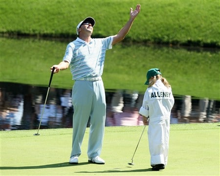 AUGUSTA, GA - APRIL 09:  Robert Allenby celebrates with his caddie during the Par 3 Contest prior to the start of the 2008 Masters Tournament at Augusta National Golf Club on April 9, 2008 in Augusta, Georgia.  (Photo by David Cannon/Getty Images)