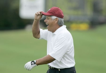 Lee Trevino during the rain extended first round of the Greater Hickory Classic at Rock Barn on the Jones Course  in Conover, North Carolina on October 8, 2005.Photo by Michael Cohen/WireImage.com