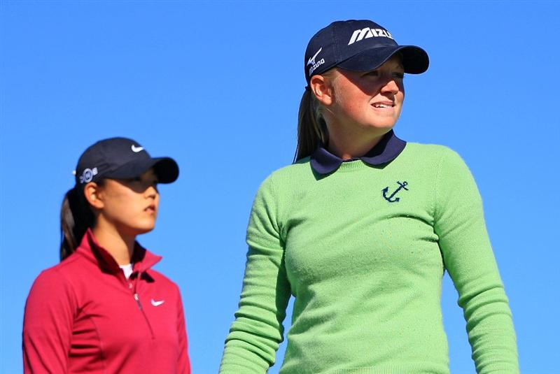 DAYTONA BEACH, FL - DECEMBER 07:  Stracy Lewis watches her tee shot on the 14th hole as Michelle Wie looks on during the final round of the LPGA Qualifying School at LPGA International on December 7, 2008 in Daytona Beach, Florida.  (Photo by Scott Halleran/Getty Images)