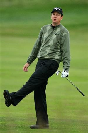 PEBBLE BEACH, CA - JUNE 18:  J.J. Henry reacts to a shot on second hole during the second round of the 110th U.S. Open at Pebble Beach Golf Links on June 18, 2010 in Pebble Beach, California.  (Photo by Donald Miralle/Getty Images)
