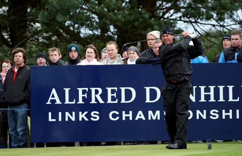 CARNOUSTIE, UNITED KINGDOM - OCTOBER 04: Darren Clarke of Ireland plays off the 11th tee during the third round of The Alfred Dunhill Links Championship at Carnoustie Golf Club on October 4, 2008 in Carnoustie, Scotland. (Photo by David Cannon/Gettyimages)