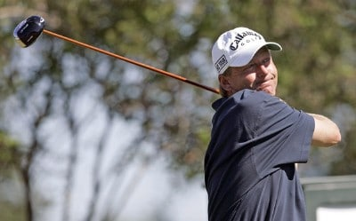 Mark Brooks hits his tee shot on the 14th hole during the second round of the Southern Farm Bureau Classic at Annandale Golf Club in Madison, Mississippi, on September 29, 2006. Photo by Hunter Martin/WireImage.com