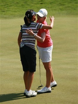 AVENTURA, FL - APRIL 27:  Leta Lindley (L) and Karrie Webb of Australia embrace after the final round of the Stanford International Pro-Am at Fairmont Turnberry Isle Resort & Club April 27, 2008 in Aventura, Florida.  (Photo by Doug Benc/Getty Images)