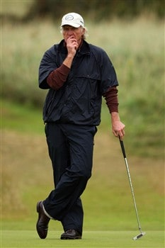 SOUTHPORT, UNITED KINGDOM - JULY 18:  Greg Norman of Australia ponders a putt on the 7th green during the second round of the 137th Open Championship on July 18, 2008 at Royal Birkdale Golf Club, Southport, England.  (Photo by Stuart Franklin/Getty Images)