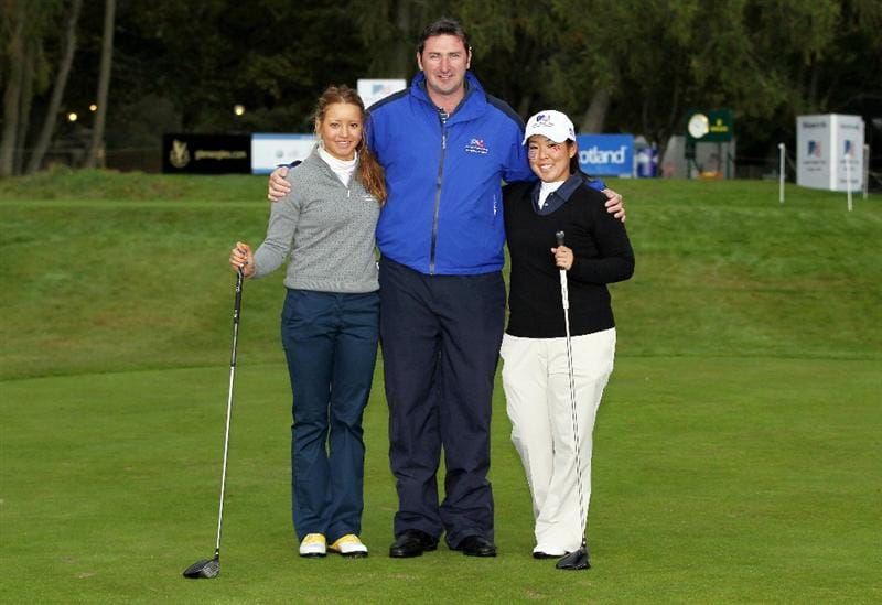GLENEAGLES, SCOTLAND - SEPTEMBER 28:  (L-R) Isabella Deilert, referee Kevin Feeney and Cassy Isagawa pose for a photograph at the start of the second day of play at the Junior Ryder Cup at Gleneagles on September 28 2010 near Muirton, Scotland. (Photo by Ian MacNicol/Getty Images)
