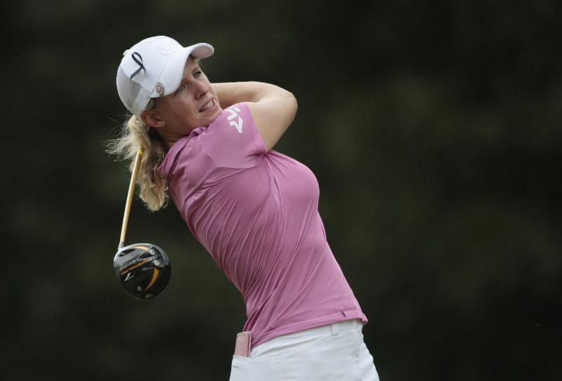 MOBILE, AL - SEPTEMBER 11:  Johanna Head of England watches her drive on the 11th tee during first round play in the Bell Micro LPGA Classic at Magnolia Grove Golf Course on September 11, 2008 in Mobile, Alabama.  (Photo by Dave Martin/Getty Images)