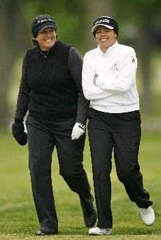 CLIFTON, NJ - MAY 18:  Meg Mallon (L) and Dorothy Delasin (R), both from the United States, share a laugh as they walk to their tee shots on the 7th hole during the second round of the LPGA Sybase Classic at Upper Montclair Country Club on May 18, 2007 in Clifton, New Jersey.  (Photo by Hunter Martin/Getty Images)