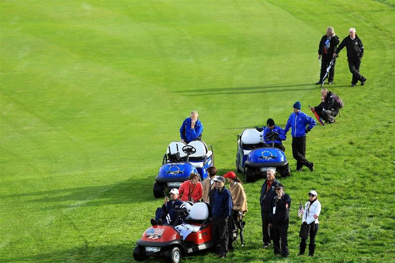 NEWPORT, WALES - OCTOBER 02:  Europe Team Captain Colin Montgomerie waits during the rescheduled Morning Fourball Matches during the 2010 Ryder Cup at the Celtic Manor Resort on October 2, 2010 in Newport, Wales.  (Photo by David Cannon/Getty Images)